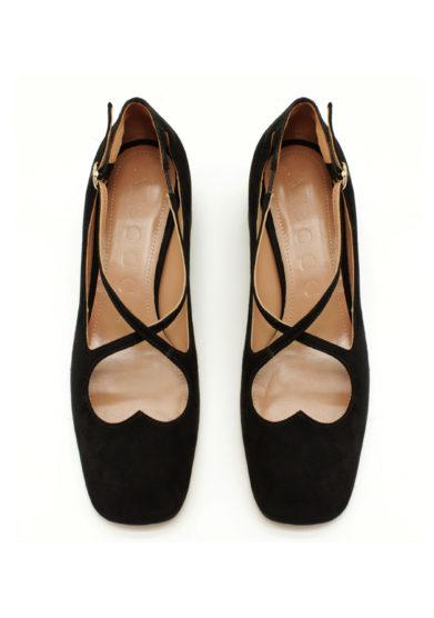 scarpe a bocca two for love camoscio nero