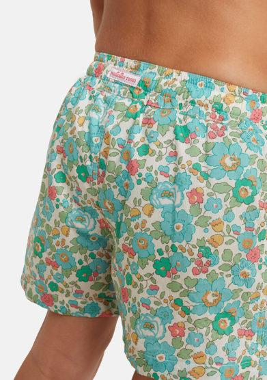 costume pantaloncino bambino fiori verdi liberty Pesciolino rosso