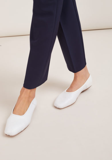 ballerina in pelle bianca a punta quadrata gia couture