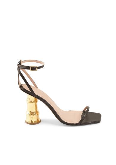 Gia couture sandali con tacco dorato effetto bambù pelle neri