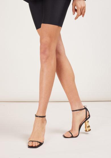 Gia couture sandali con tacco dorato forma bambù pelle neri