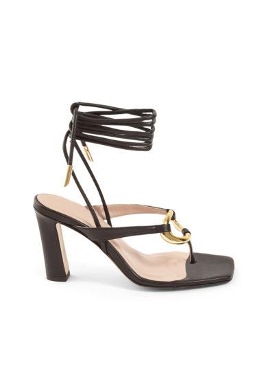 Gia couture sandali infradito con tacco pelle neri