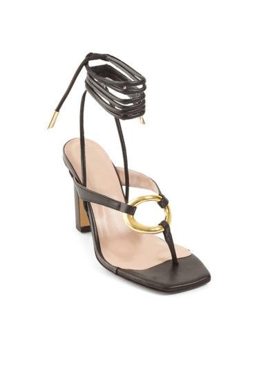 Gia couture sandali infradito con tacco pelle neri allacciati alla caviglia