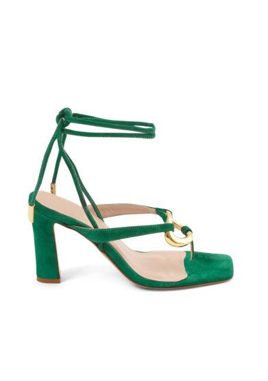 Gia couture sandali infradito con tacco scamosciati verdi