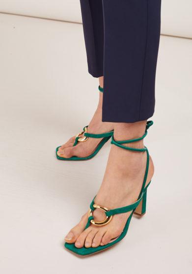 sandali infradito con tacco scamosciati verdi gia couture