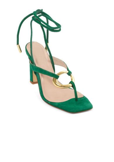 Gia couture sandali infradito con tacco scamosciati verdi allacciati alla caviglia
