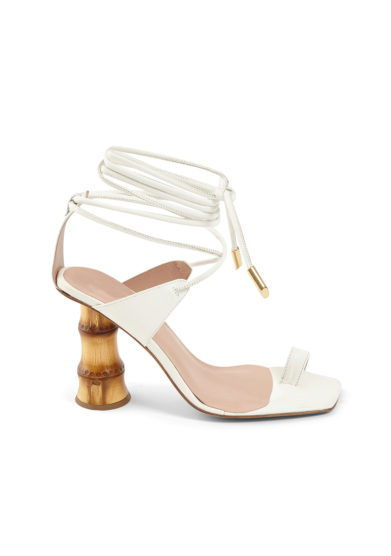 Gia couture sandali infradito pelle bianchi tacco bambù