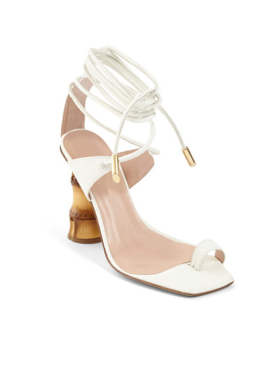 sandali infradito pelle bianchi tacco bambù gia couture