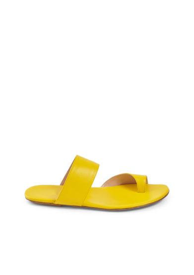Gia couture sandalo flat infradito pelle gialla