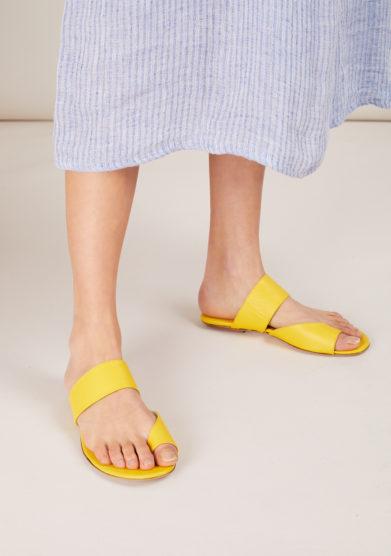 Gia couture sandalo flat infradito pelle gialla con fasce