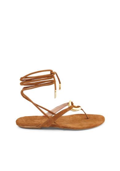 Gia couture sandalo infradito lacci alla caviglia scamosciato caramello