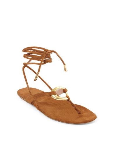 sandalo infradito lacci alla caviglia scamosciato caramello gia couture