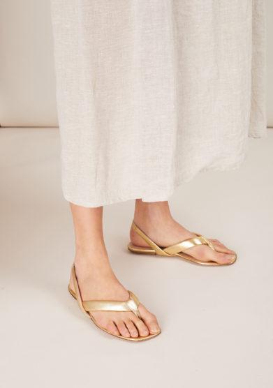 Gia couture sandalo infradito pelle oro bombato
