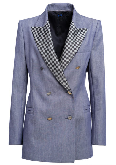 Nasco unico blazer denim doppio petto in lino e cotone