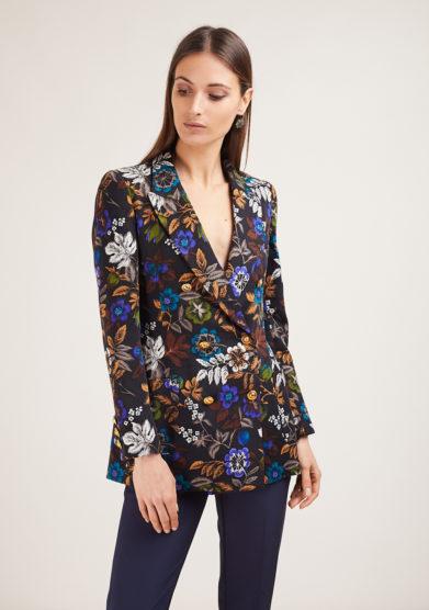 Nasco unico blazer doppio petto in lana fantasia floreale