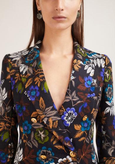 blazer nasco unico doppio petto in lana fantasia floreale