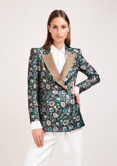 Nasco unico blazer tuxedo gold jacquard fiori verdi