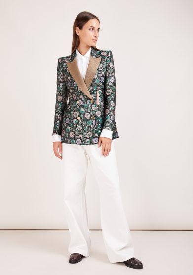 Nasco unico blazer jacquard fiori verdi tuxedo gold
