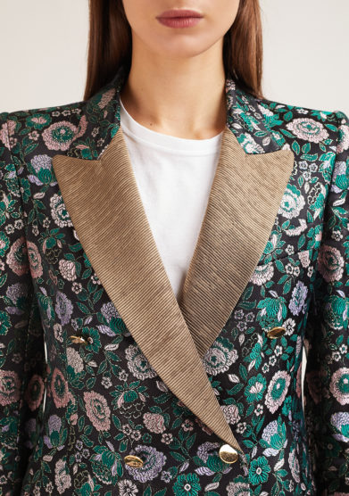 Nasco unico blazer tuxedo jacquard fiori verdi rever dorati