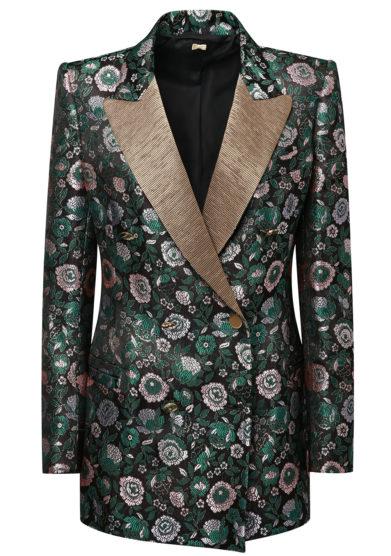 Nasco unico blazer tuxedo jacquard fiori verdi