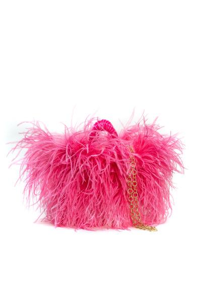 coffa bag Pescepazzo rosa fluo piume struzzo