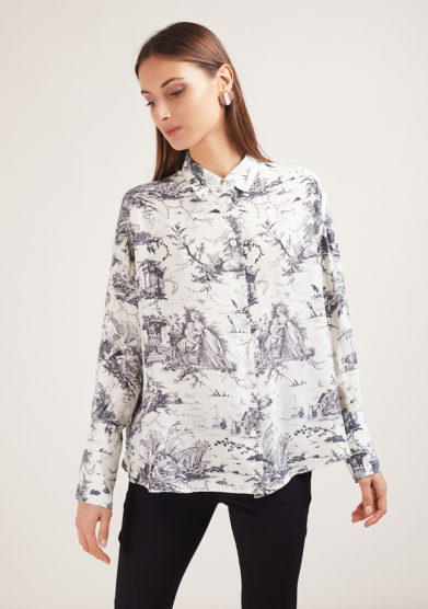 camicia in seta Monica con stampa Toile Society