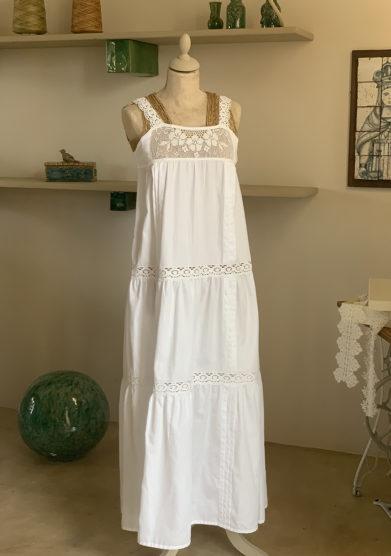 abito bianco Verdura resort cotone con spalline uncinetto