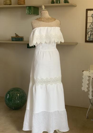 abito bianco Verdura resort in piquet di cotone