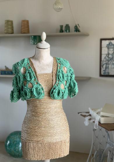 Verdura resort bolerino in lana lavorato mezza manica