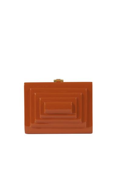 Virginia Severini clutch rettangolare legno arancio