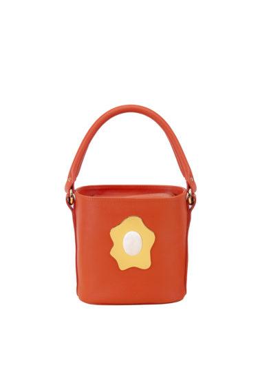 Virginia severini borsa secchiello in pelle arancio con manico