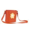 borsa secchiello in pelle arancio tracolla