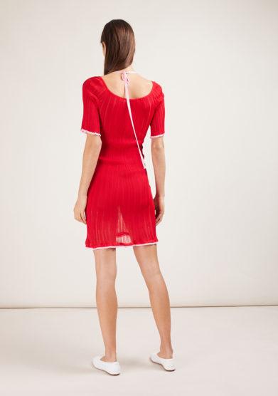 abito in maglia mezza manica rosso 16R