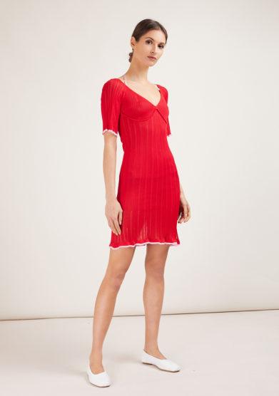 16R abito in maglia mezza manica rosso