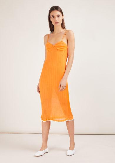 abito midi lingerie in maglia a costine plissè arancio 16R