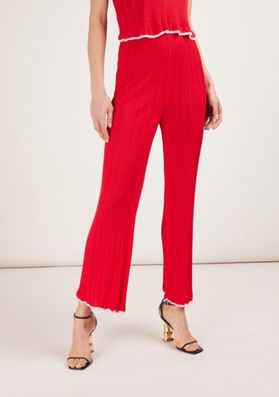 pantalone in maglia a costine rosso 16r