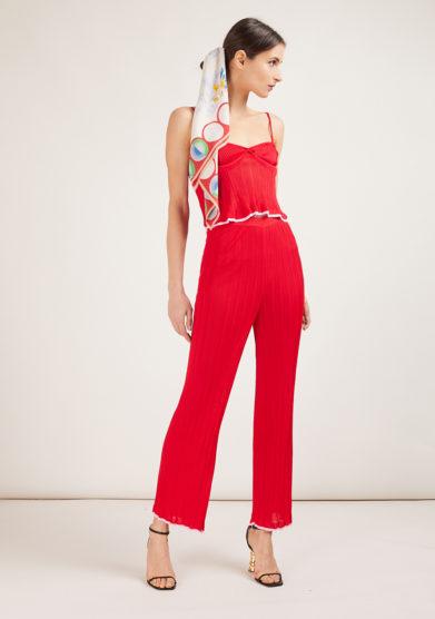 16R pantalone in maglia a costine rosso