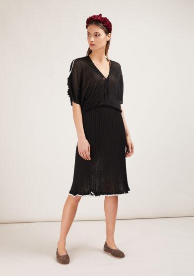 16r abito in maglia nero manica a kimono midi