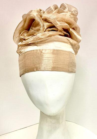turbante in seta metallica oro altalen