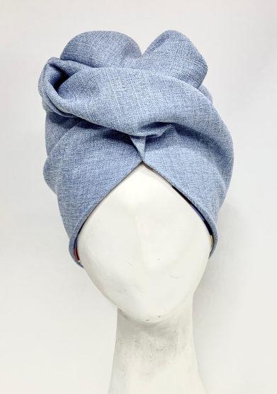 turbante panama in seta azzurro altalen
