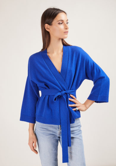 Alyki cardigan cashmere incrociato kimono blu elettrico