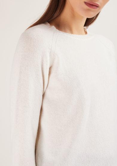 alyki cardigan in cashmere bianco manica lunga