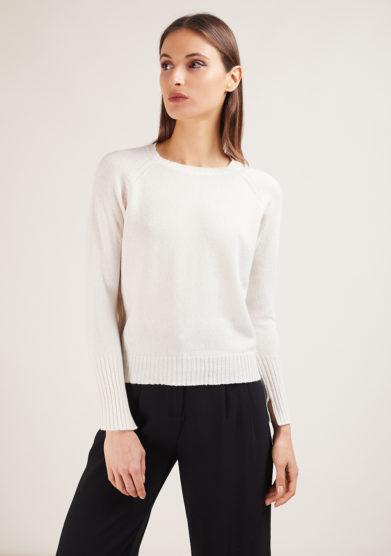 alyki cardigan in cashmere manica lunga bianco