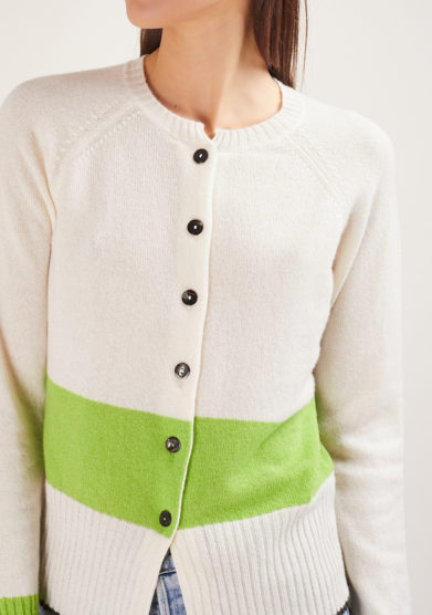 corinne cardigan alyki in cashmere bianco e verde