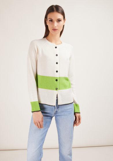 corinne cardigan in cashmere bianco e verde alyki