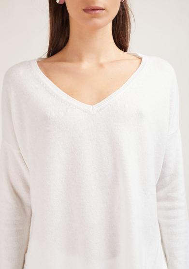 maglia in cashmere alyki scollo v bianco