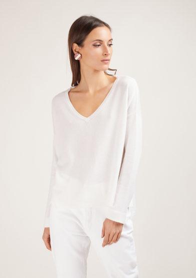 alyki maglia in cashmere scollo v bianco