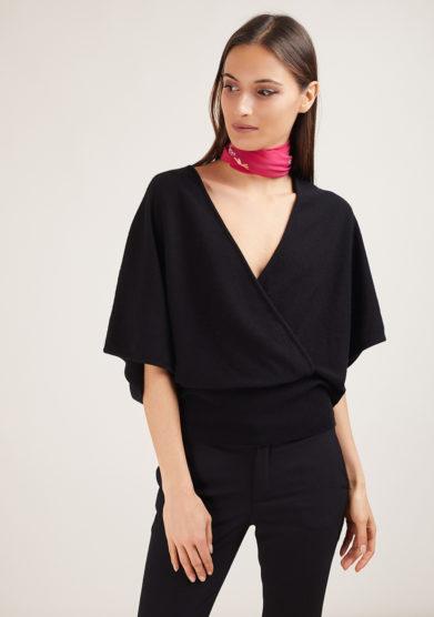 Alyki maglia incrociata in cashmere nero manica kimono