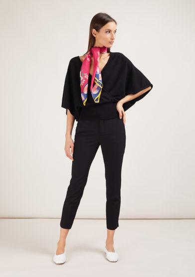 Alyki maglia incrociata nera in cashmere manica kimono