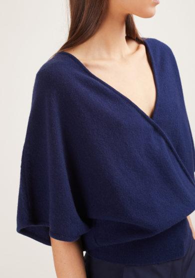 maglia mezza manica incrociata alyki in cashmere blu